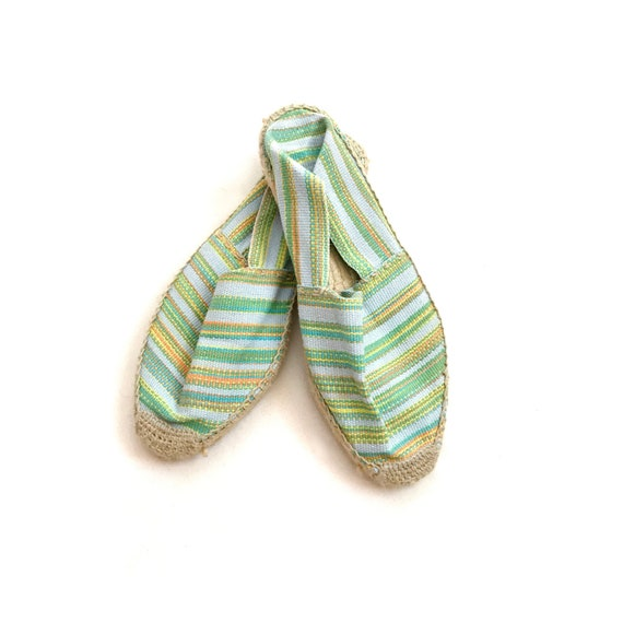 Vintage // 1990s Pastel Blue & Green Striped Espad