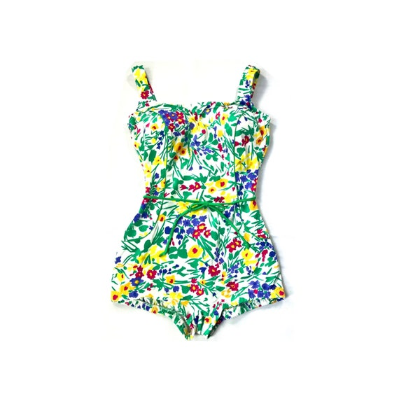 Vintage // Gabar Floral One Piece Swimsuit // 1970