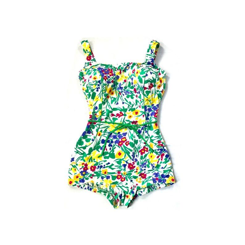 e5cfb0a855 Vintage // Gabar Floral One Piece Swimsuit // 1970s | Etsy