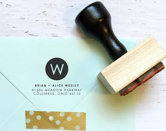 Circle monogram custom address stamp - the Wesley - gift, invitation, housewarming, wedding - wood mounted with handle OR self-inking