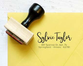 Custom calligraphy address stamp - the Taylor - full name, family name, couple, housewarming, gift - wood mounted with handle OR self-inking
