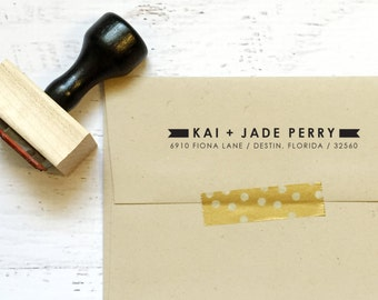Custom ribbon address stamp - the Perry - gifts, invitations, housewarming, wedding, holiday - wood mounted with handle OR self-inking