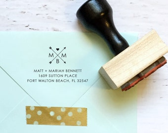 Arrow & heart monogram custom address stamp - the Bennet - gift, invitation, housewarming, wedding - wood mounted with handle OR self-inking
