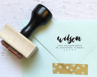 Custom calligraphy address stamp - the Wilson - gifts, invitations, housewarming, wedding - wood mounted with handle OR self-inking