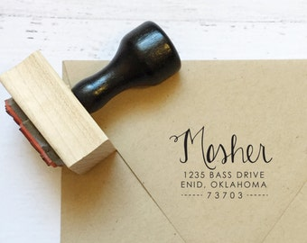 Custom calligraphy address stamp - the Mosher - gifts, wedding, graduation, thank you - wood mounted with handle OR self-inking