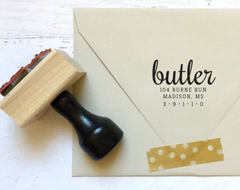 Custom calligraphy address stamp - the Butler - gifts, invitations, housewarming, announcements - wood mounted with handle OR self-inking