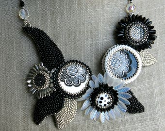 embroidered bib necklace black and white