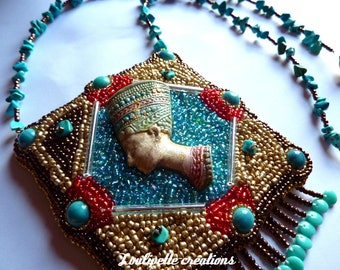 "Embroidered necklace ""Queen Nefertiti of Egypt"""