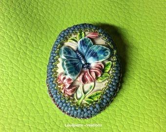 Ceramic beaded Butterfly brooch