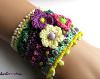 Crocheted, embroidered with beads Cuff Bracelet