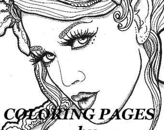 coloring pages faces Megan Coloring page woman face adult coloring picture | Etsy coloring pages faces