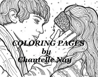 Coloring Page Adult Picture Digital Download Advanced Printable Couple Face Zentangle
