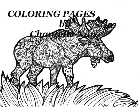 Moose Coloring Page Adult Coloring Picture Animals Etsy