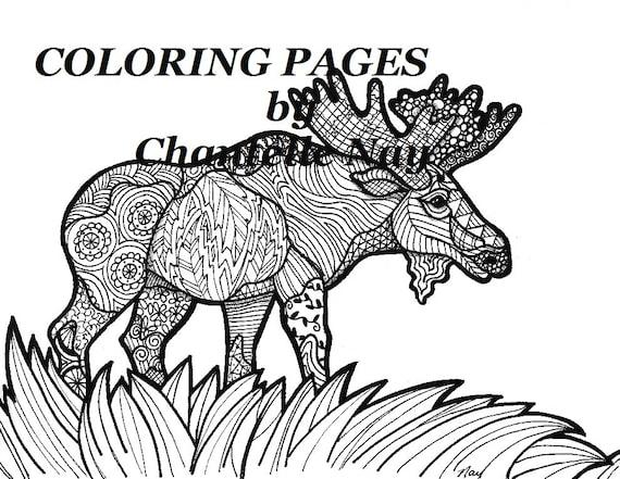 Alces colorear página imagen de adulto para colorear | Etsy