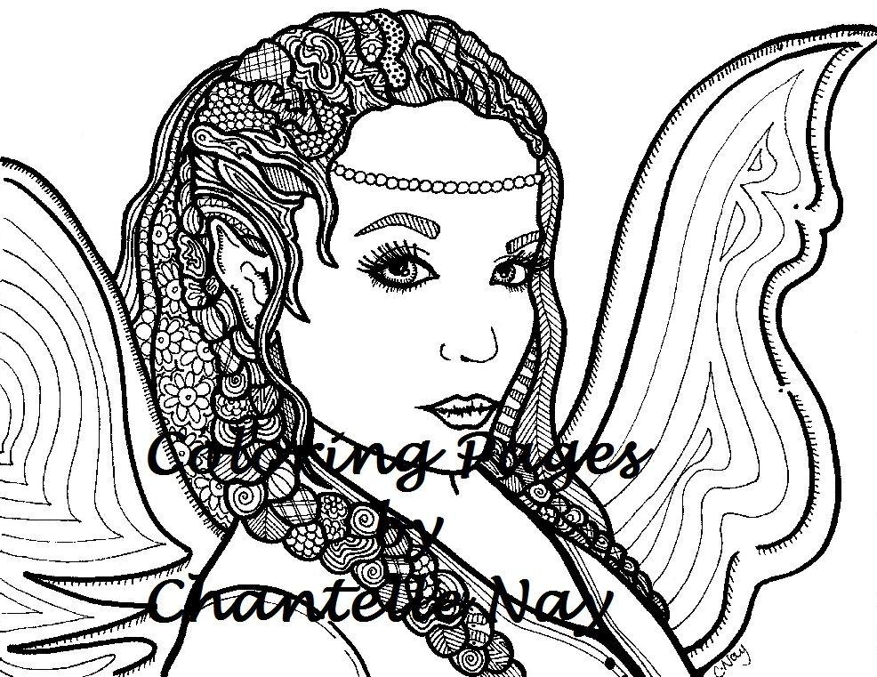 Niña hada hermosa página para colorear mujer cara adulto | Etsy