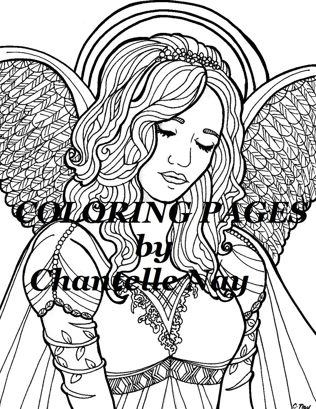 kleurplaten pagina engel vrouw gezicht volwassen etsy