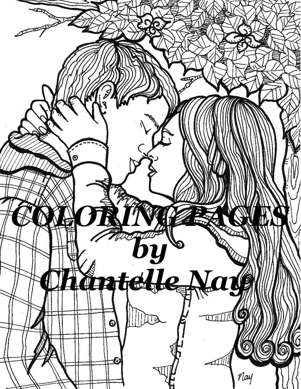 Cute couple Coloring page adult coloring picture digital ...
