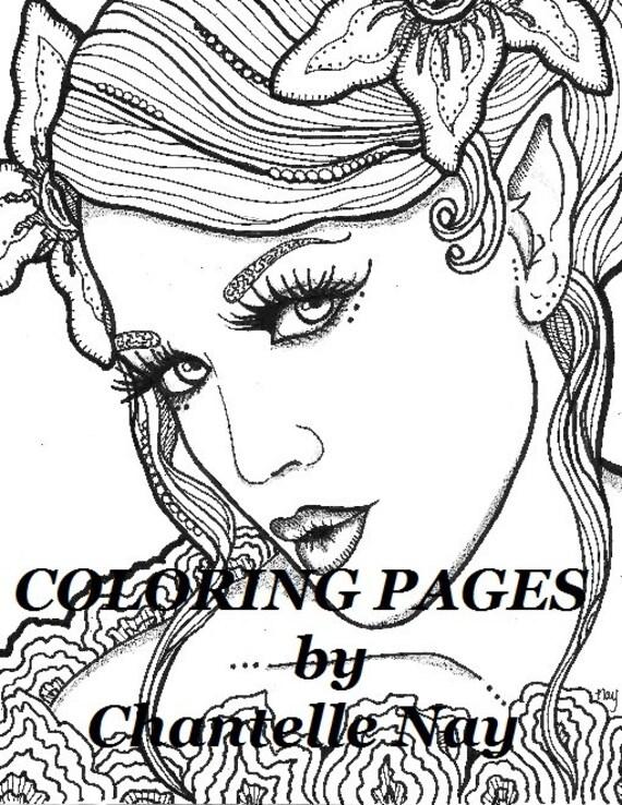magnolia kleurplaten pagina vrouw gezicht volwassene etsy