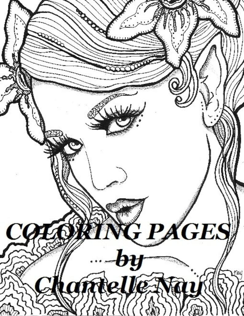 Magnolia Coloriage Page Visage Femme Adulte Photo Digital Zentangle A Colorier Coloriage Coloriage Imprimable De Pointe