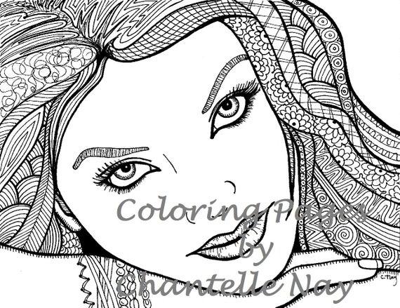 Schöne Mädchen Malvorlagen Frau Gesicht Erwachsenen Färbung Bild Digital Zentangle Erweiterte Färbung Druckbare Ausmalbilder