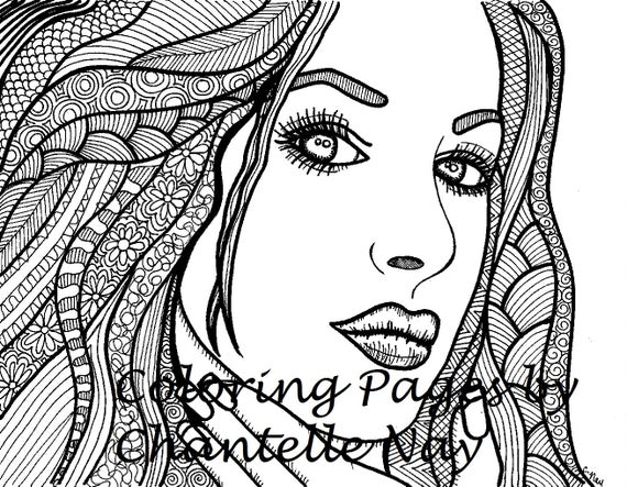 Beautiful Girl Coloring Page Woman Face Adult Coloring Etsy