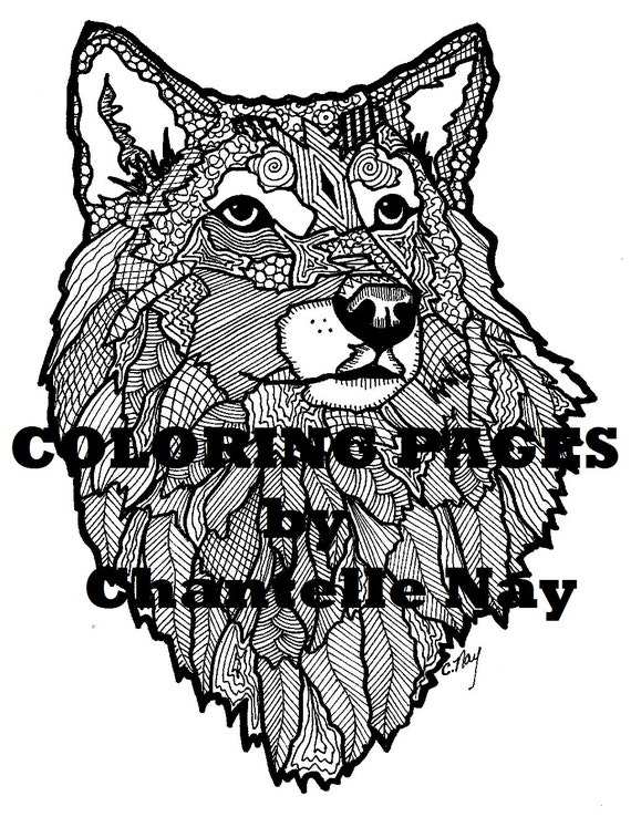 Wolf Coloring Page Adult Coloring Picture Animals Etsy