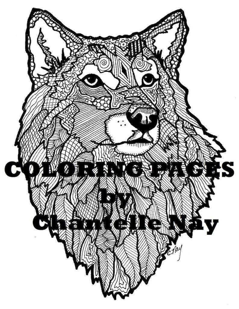 Kleurplaten Wolf.Wolf Kleurplaat Volwassen Kleurplaten Van Dieren Natuur Etsy