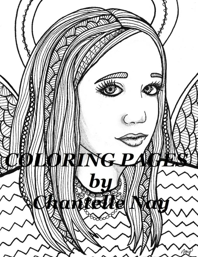 kortnee kleurplaten pagina engel vrouw gezicht volwassen