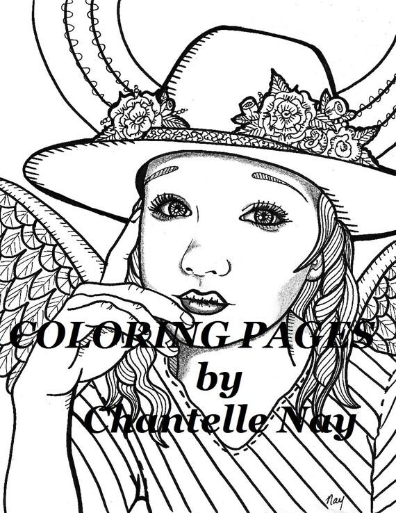 Vaquera angel colorear página mujer cara adulto para | Etsy