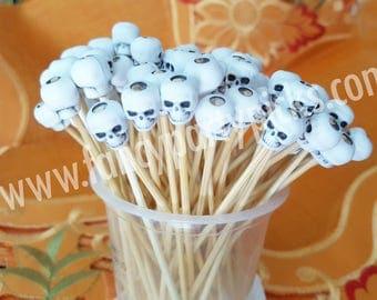 Halloween Skull Toothpicks, finger food,  fruit picks, cupcake topper, appetizer, toothpick decoration ***FREE SHIPPING***