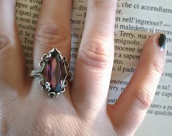 gift for her, romantic gothic ring, silver 925, vampire jewel, swarovsky crystal,victorian style, Carmilla ring