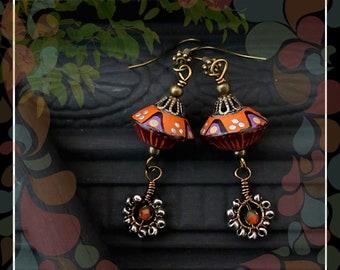 Tribal Floral Polymer Bead Dangle Earring/Orange Lilac Black Brass