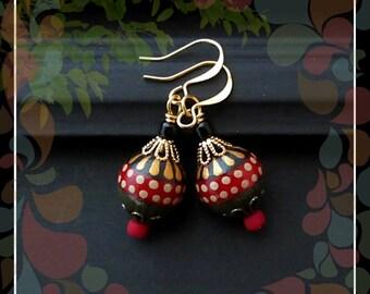 Boho Polka Dot Stripe Wood Bead Drop Earring/Ivy Red Black Gold