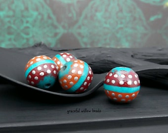 Red Orange Turquoise Silver Polka Dot Round Wood Bead - Hand Painted Wood Bead - 10-12mm - Pkg. 4