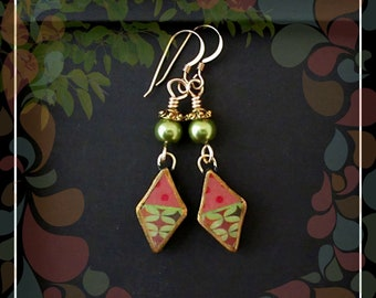 Gypsy Polymer Diamond Drop Dangle Earring/Green Yellow Red Gold