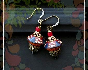 Moroccan Stripe Polymer Bead Drop Earring/Navy Red Orange Brass