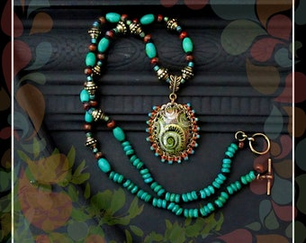 Bohemian Gypsy Knotted Bead Cord Necklace/Turquoise Green Red Gold
