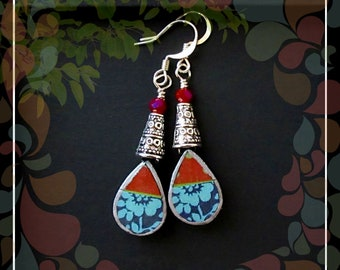 Floral Polymer Teardrop Dangle Earring/Red Navy Turquoise Silver