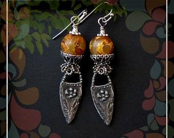 Bohemian Rustic Drop Dangle Earring/Earthy Amber Yellow Pewter