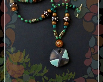 Tribal Boho Knotted Cord Beaded Necklace/Green Turquoise Brown Brass