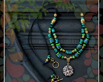 Tribal Batik Cord Necklace/Teal Green Gold Black/22 in. Double Strand