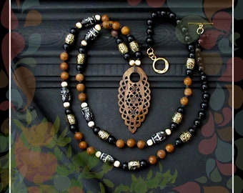 Earthy Bohemian Knotted Bead Cord Necklace/Black Brown Ivory Gold
