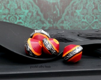 SALE - Vintage Style Red Silver Orange Polymer Bicone Bead - Handcrafted Bead - 13mm - Pkg. 4