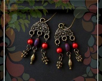Bohemian Gypsy Floral Dainty Dangle Earring/Red Purple Brass