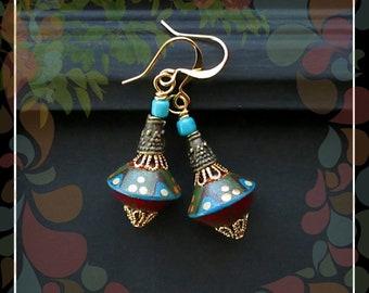 Tribal Polka Dot Polymer Bead Drop Earring/Ivy Red Blue Gold