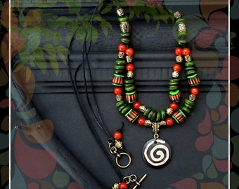 Tribal Batik Cord Necklace/Olive Orange Gold Black/22 in. Double Strand