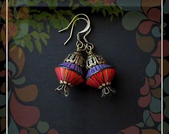 Bohemian Striped Polymer Bead Drop Earring/Lilac Pink Brass