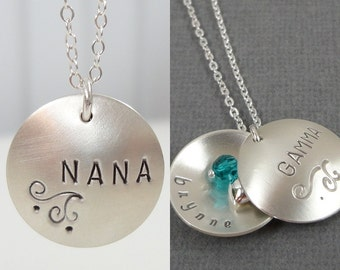 Grandma Locket Necklace, Personalized Locket Style Necklace, Grandmother Necklace, Birthstone Necklace, Sterling Silver, Mothers Day Jewelry