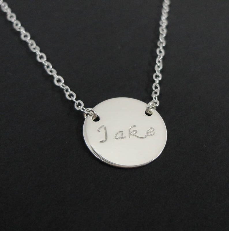 2d0192a4b7ded Custom Stamped - Hand Stamped Necklace - Personalized Necklace - Sterling  Silver, 14k Gold filled or Rose Gold, 5/8