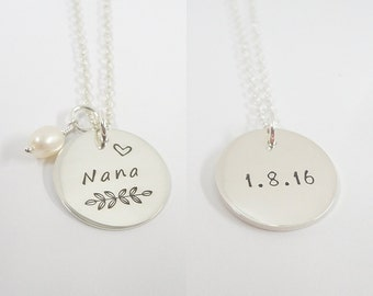 Double Sided Personalized Necklace, Name and Date Necklace, Necklace for Mom, Sterling Silver, Mother's Day Gift, Grandmother Necklace